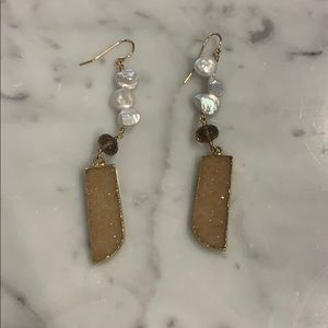Jewelry - Reversible gemstone earrings with pearls.